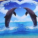 SECKATECH Twin Size Soft Microfiber 4-Pieces Duvet Cover Sets, 3D Dolphin Lovers Style.Duvet Cover & Flat Sheet & 2 Pillowcases.