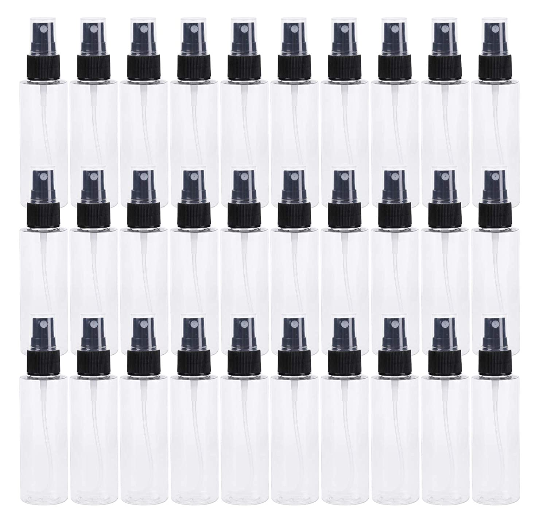 Bekith 30 Pack 2 oz Clear PET Spray Bottles with Black Fine Mist Sprayer - Reusable Empty Plastic Bottles for for Essential Oils, Travel, Perfumes