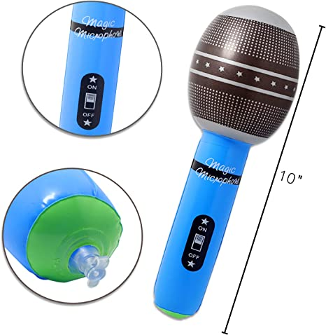 Inflatable Black Microphone with Stand Blow-Up Novelty Stage Singer Prop Toy