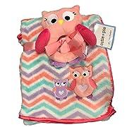 Cutie Pie 2PC. Baby Owl Blanket Set- Cheveron Multi Pink