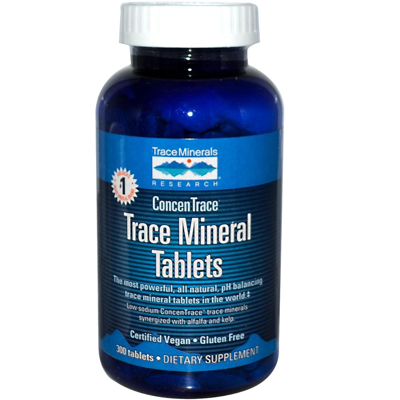 CONCENTRACE Trace Mineral Tablets. 300 Tablets. Magnesium, Calcium, Potassium, Kelp, Alfalfa, All Natural, No Sugar, Electrolytes