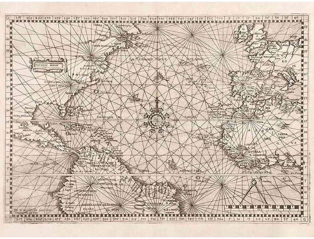 Wee Blue Coo Map Atlantic Classical Nautical Naviguer Ocean Unframed Wall Art Print Poster Home Decor Premium