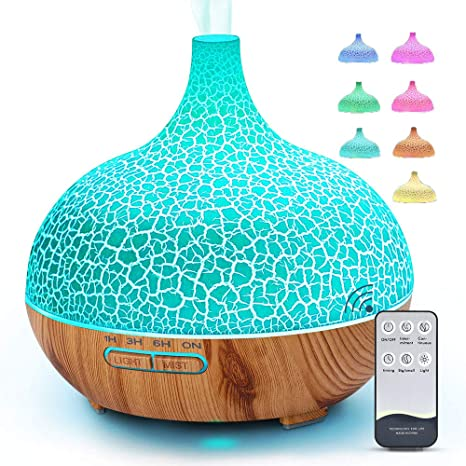 Essential Oil Diffuser Room 400ml Aroma Diffuser Aromatherapy Diffusers 4 Timer Cool Mist Humidifiers (Waterless Auto Off, 7 Color Changing LED