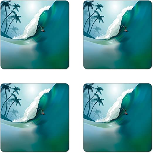 Ocean Waves Car Cup Holder Natural Stone Drink Coaster Set