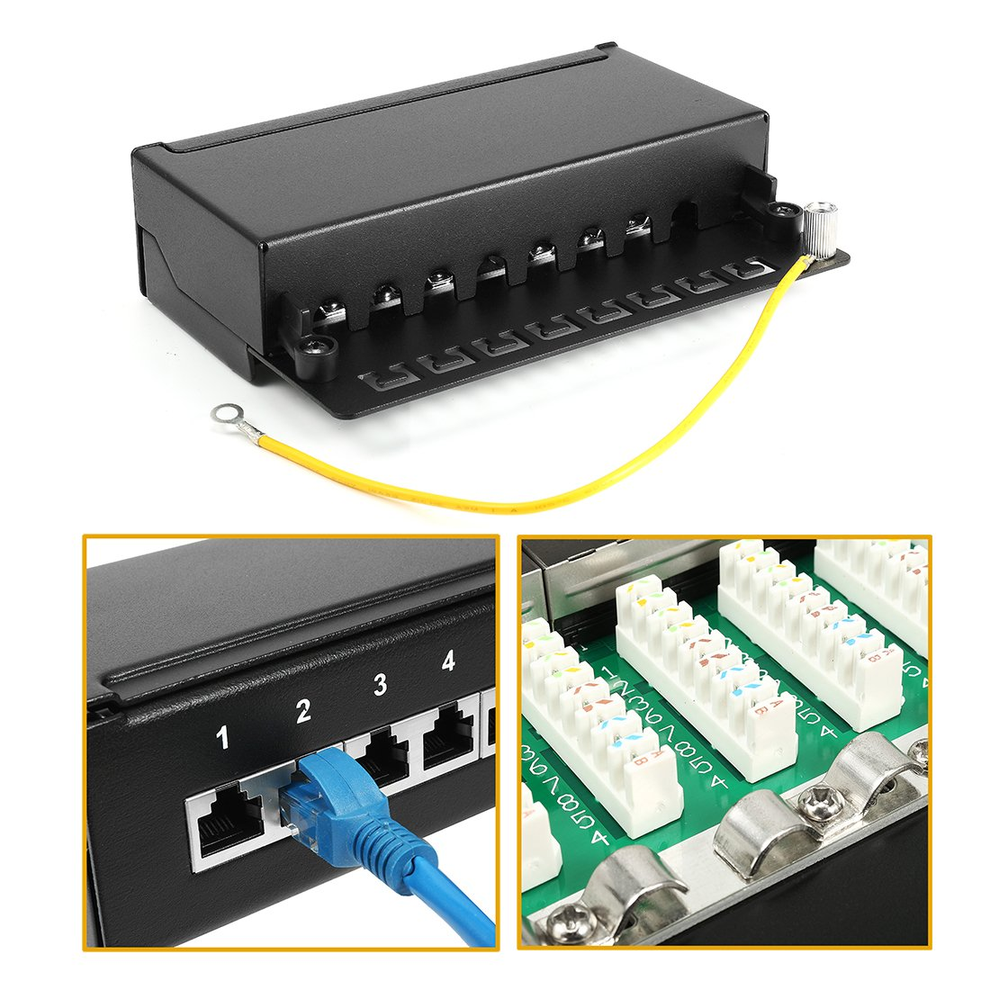 Uxcell 8 Ports 1u Rack Mount Full Shielded T568a T568b Patch Panel Wiring Diagram Ethernet Rj45 Cat6 Home Improvement