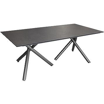 Moderner Aluminium Gartentisch Spraystone Tischplatte Naturstein