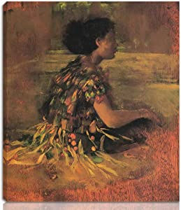 Berkin Arts John La Farge Stretched Giclee Print On Canvas-Famous Paintings Fine Art Poster-Reproduction Wall Decor Ready to Hang(Girl in Grass Dress Seated Samoan Girl)#NK