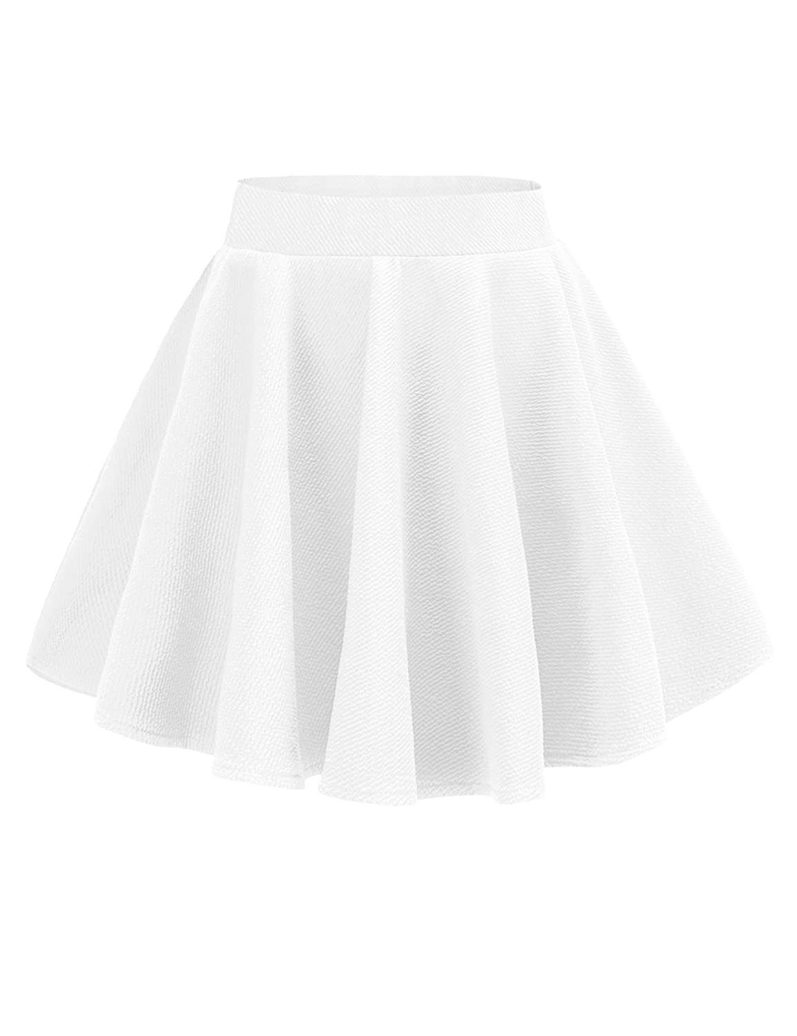 v28 Women Girls Stretch Waist Flared Plain Pleated Casual Mini Skater Skirt vf802Model A Black