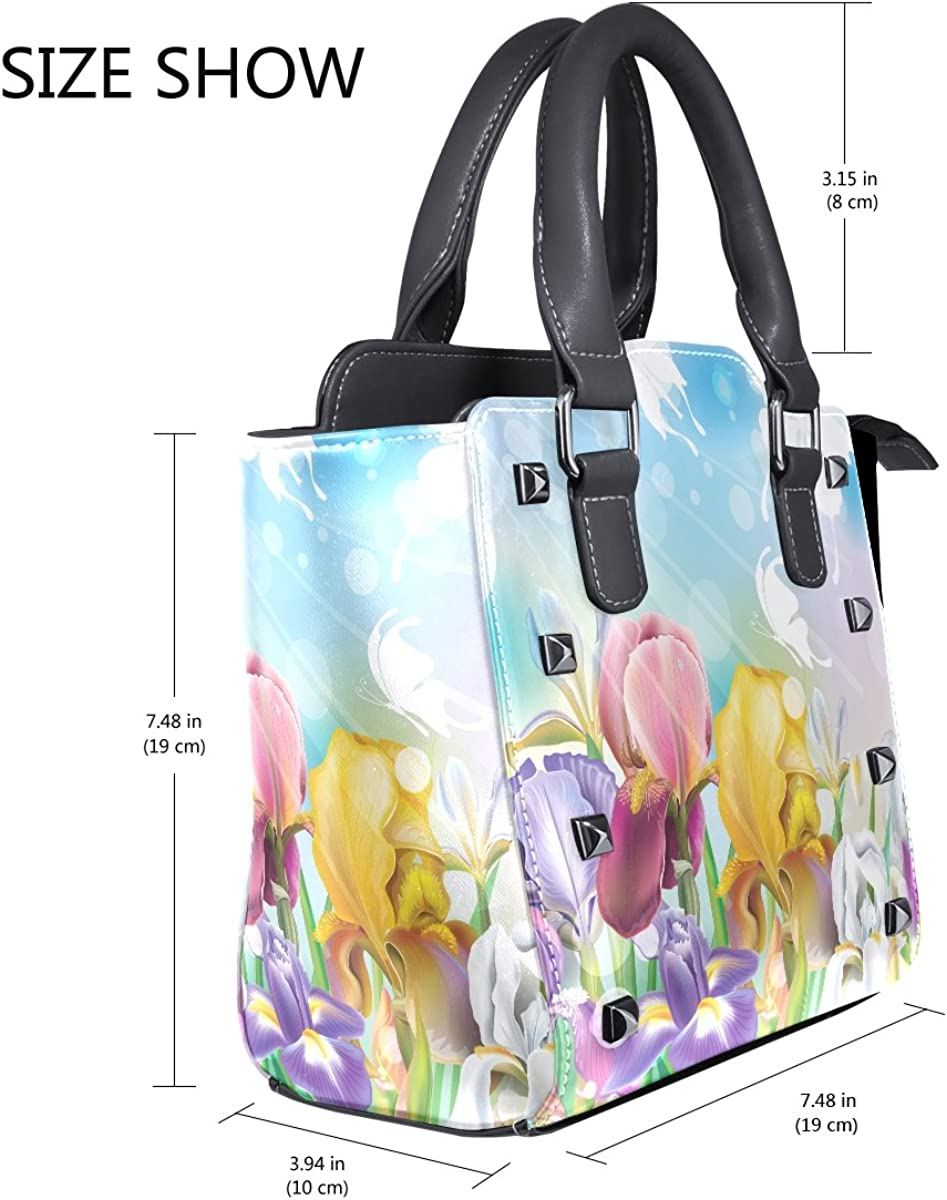 Jennifer PU Leather Top-Handle Handbags Butterflies Flowers Pattern Single-Shoulder Tote Crossbody Bag Messenger Bags For Women