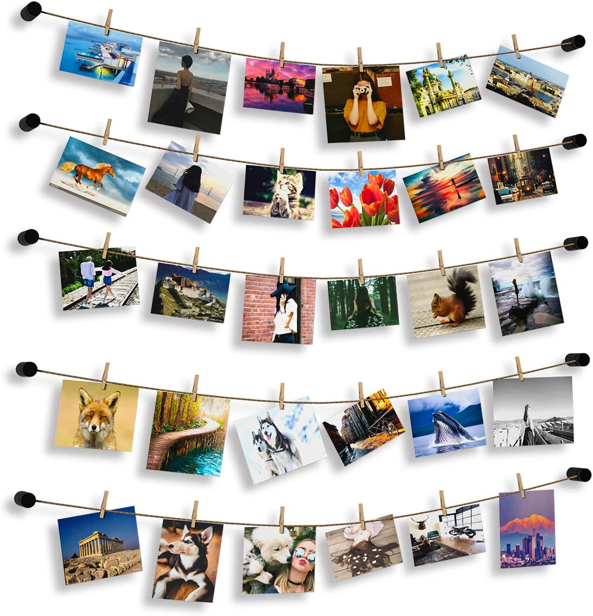 Hosom String Picture Hanger with Clips, Photo Display String with Clips to Hang Pictures, 16.5ft Picture Display Clothesline, 30pcs Photo Clothespins, 10pcs Black Standoffs
