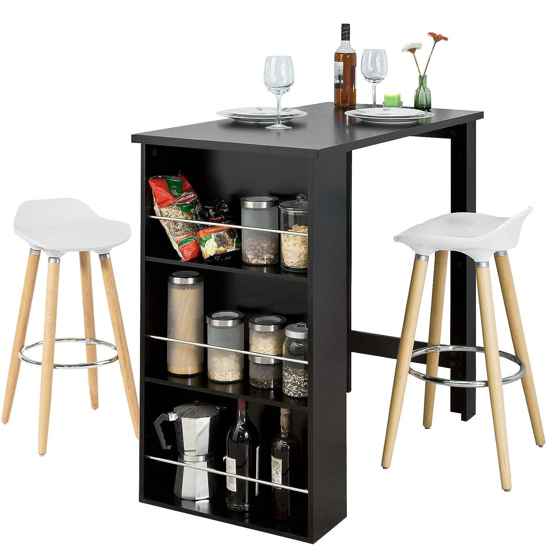 SoBuy Tavolo Alto Bar con 2 sgabell Bancone Bar da casa Altezza del Tavolo 106 cm, Bianco e Nero FWT17-SCH+FST34-Wx2