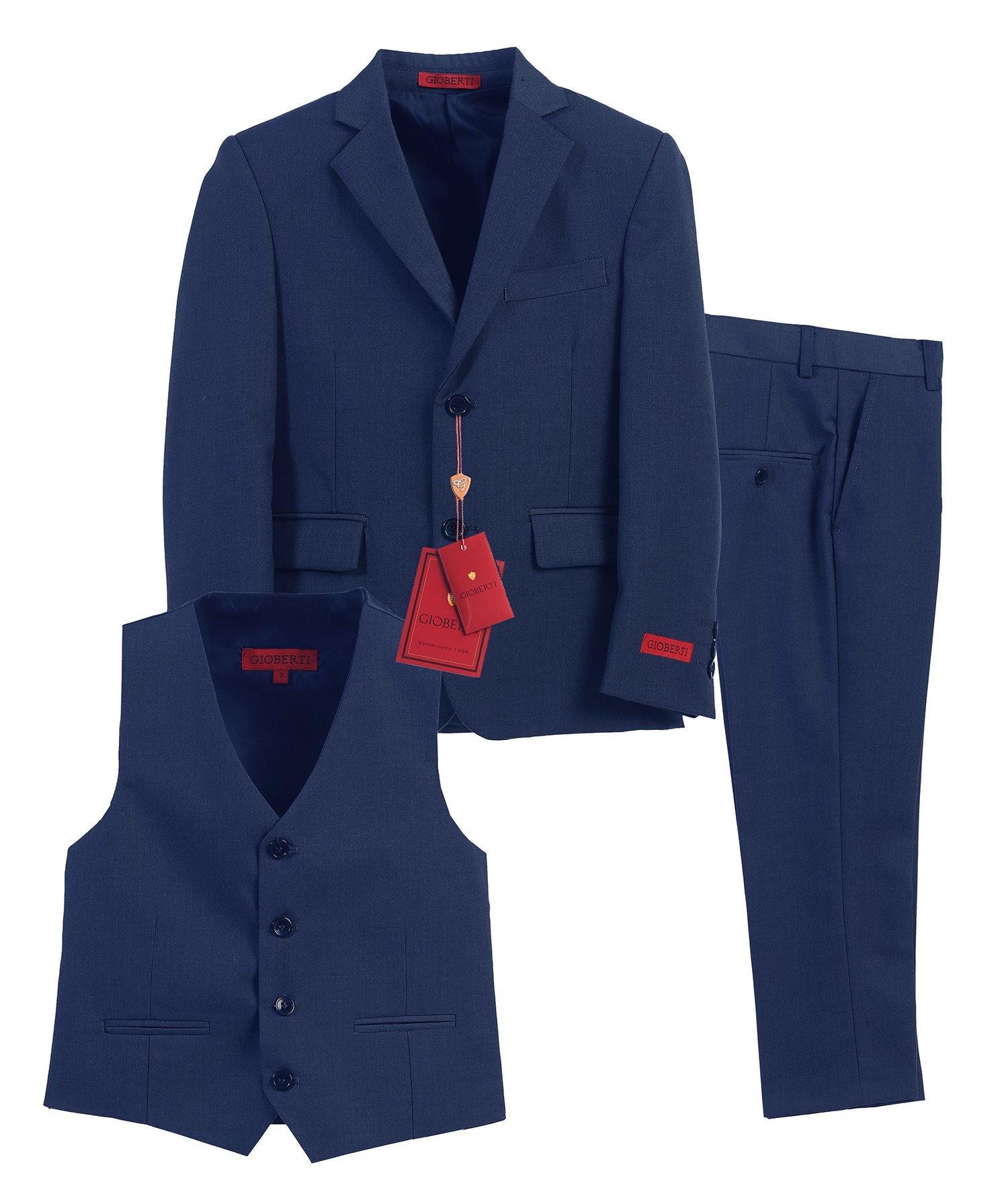Gioberti Boy's Formal 3 Piece Suit Set, Royal Blue, Size 14