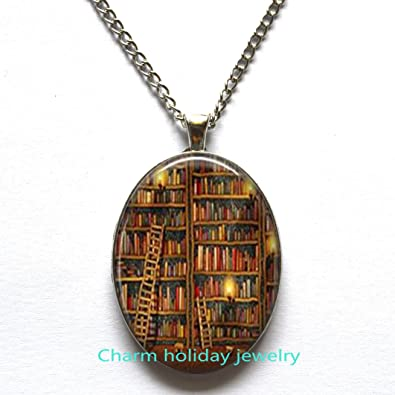 5837ab9db5d Image Unavailable. Image not available for. Color  Library Book Necklace - Librarian  Pendant - Gifts ...