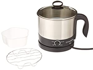 Uniware 70019 1.2 LT S.S304 Electric Cooker W. Rotating Base 8.7'' x 6.7'' x 7' Silver & black