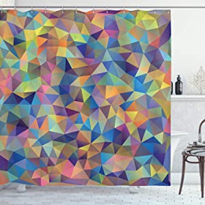 Ambesonne Abstract Shower Curtain, Abstract Colorful Triangles Shapes Ornate Fractal Mosaic Formation Illustrations, Cloth Fabric Bathroom Decor Set with Hooks, 70