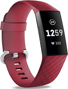 Hamile Bands Compatible with Fitbit Charge 4 / Fitbit Charge 3 / Fitbit Charge 3 SE, Waterproof Replacement Watch Strap Fitness Sport Band Wristband for Women Men, Small, Wine Red