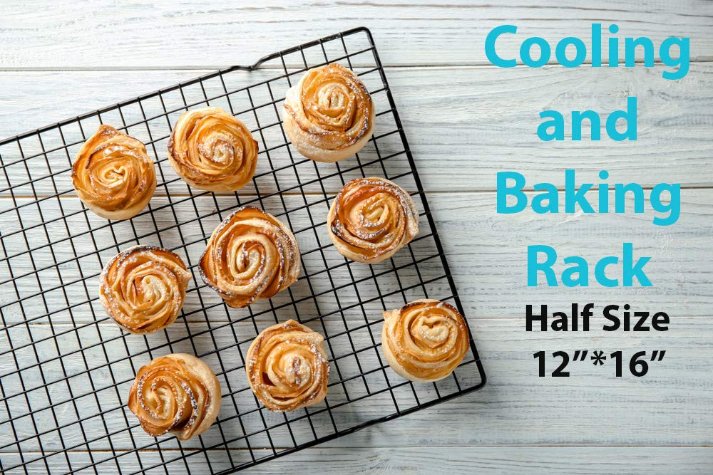 Bakeware Set - 2 Aluminum Sheet Pan, 2 Bakeable Cooling Rack (Stainless Steel) -All Half Size - for Commercial or Home Use. Non Toxic, Perfect Baking Supply set for gifts by HeroFiber (Image #2)