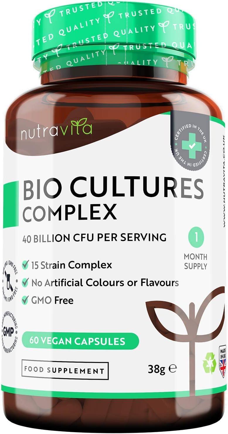 Probióticos Complex 40 Mil Millones CFU con 15 Cepas de Bacterias por Porción - Probioticos Intestinales para Mujeres y Hombres- Hecho en el Reino Unido por Nutravita