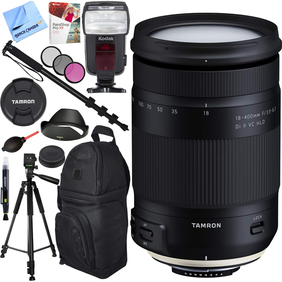 Tamron 18-400mm f/3.5-6.3 Di II VC HLD All-in-One Zoom Lens for Nikon Mount with Pro Sling Backpack Plus Accessories Bundle by Tamron