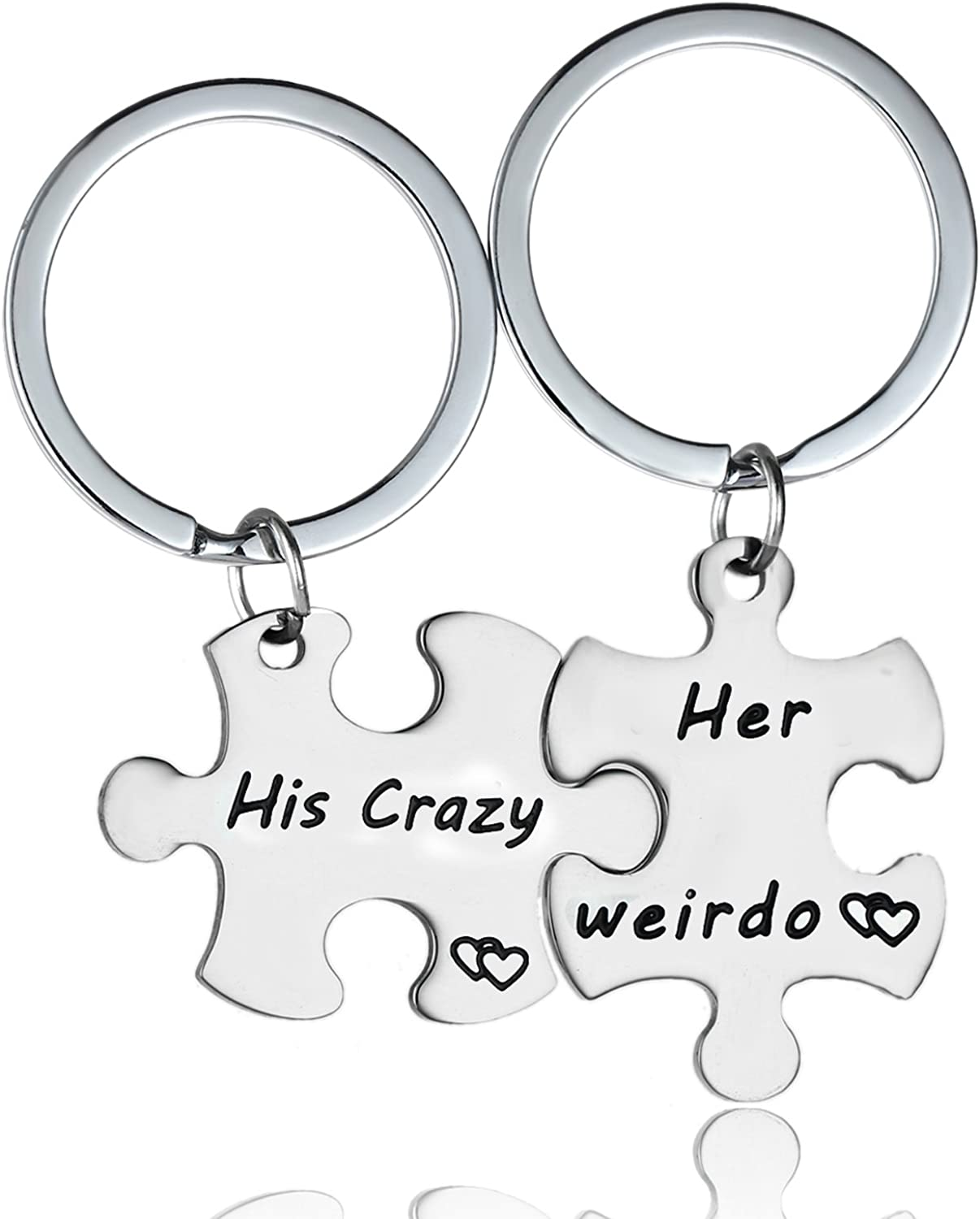 Couple Key Ring Silver Heart Keychain Heart-shape Shaped His Crazy Her Weirdo NB
