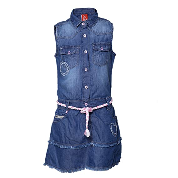 b3184f015f Tales   Stories Girls Sleeveless Dark Blue Denim Dress  Amazon.in  Clothing    Accessories