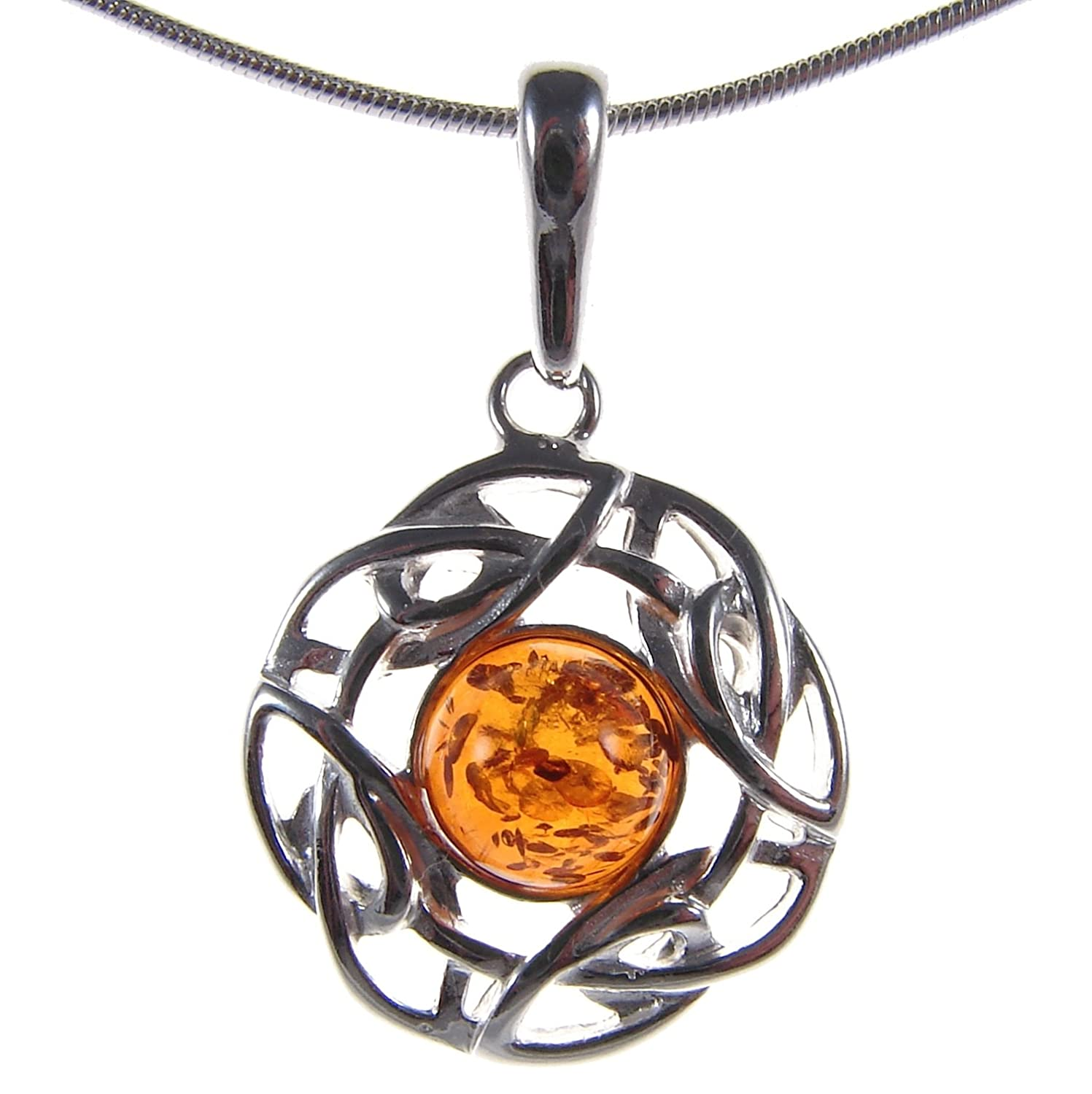 10 12 14 16 18 20 22 24 26 28 30 32 34 36 38 40 1mm ITALIAN SNAKE CHAIN BALTIC AMBER AND STERLING SILVER 925 PENDANT NECKLACE