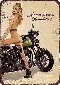 "HomDeo Metal Signs Vintage Basement Decor Art U.S. WWII Vintage 1943 Motorcycle Pinup Girl Tin Sign 8"" x 12"" Retro Novelty Pub Wall"