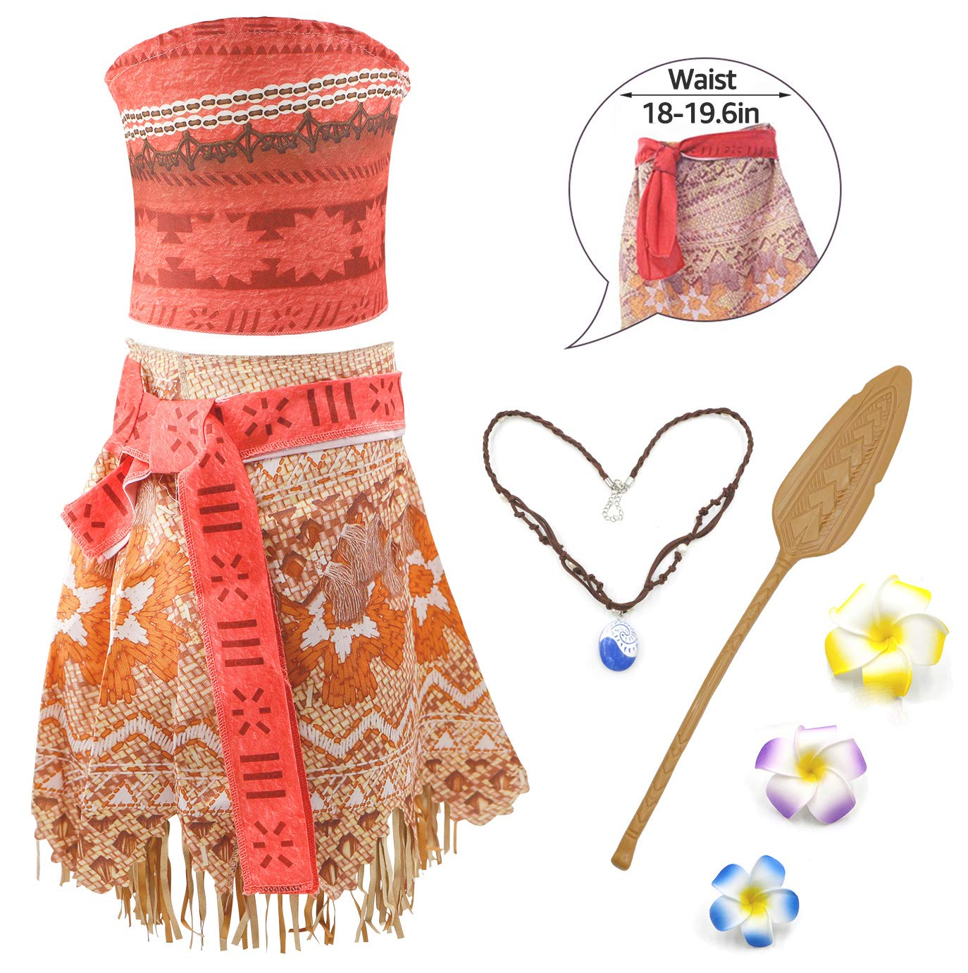 RioRand Moana Girls Adventure Outfit Cosplay Costume Skirt Set with Necklace 2 years Flower/&Oar