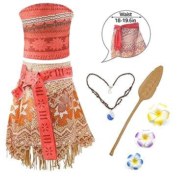 UK Moana Costume Hawaiian Princess Fancy Cosplay Dress/&Necklace 3-11Y Outfit