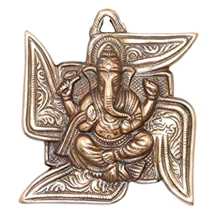 APKAMART Lord Ganesh Wall Hanging - Ganpati Seated on Swastik - 6 Inch - Wall Showpiece for Wall Decor, Room Decor, Home Decor and Gifts