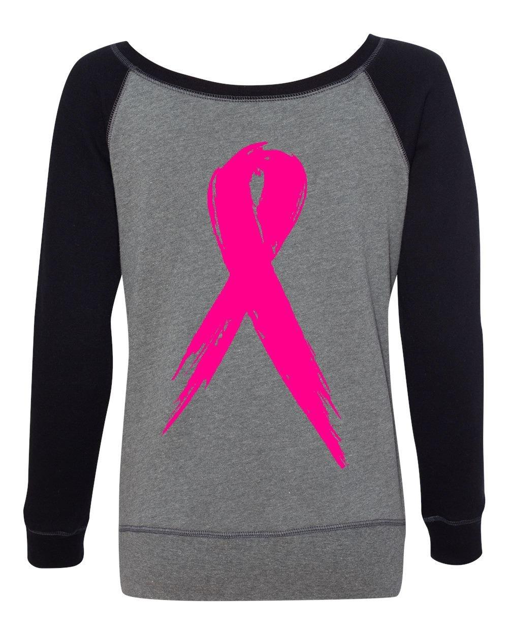 Tee Hunt Pink Ribbon Breast Cancer Awareness Women's Sweatshirt Hope Fight Survivor Black/Gray 2XL