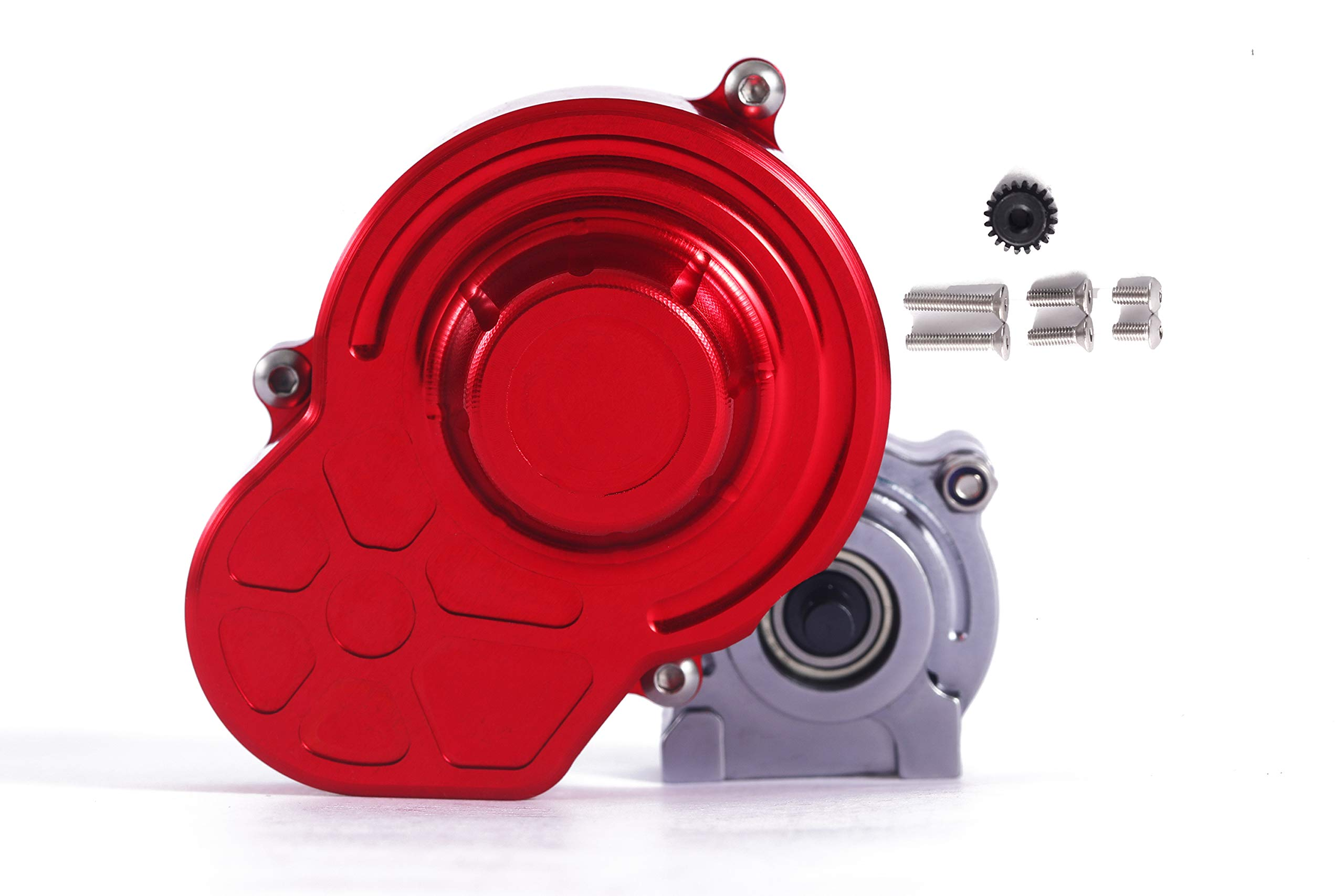 RZXYL 1/10 RC Car Full Alloy Assembled Transmission Case Gearbox for Axial SCX10,Red