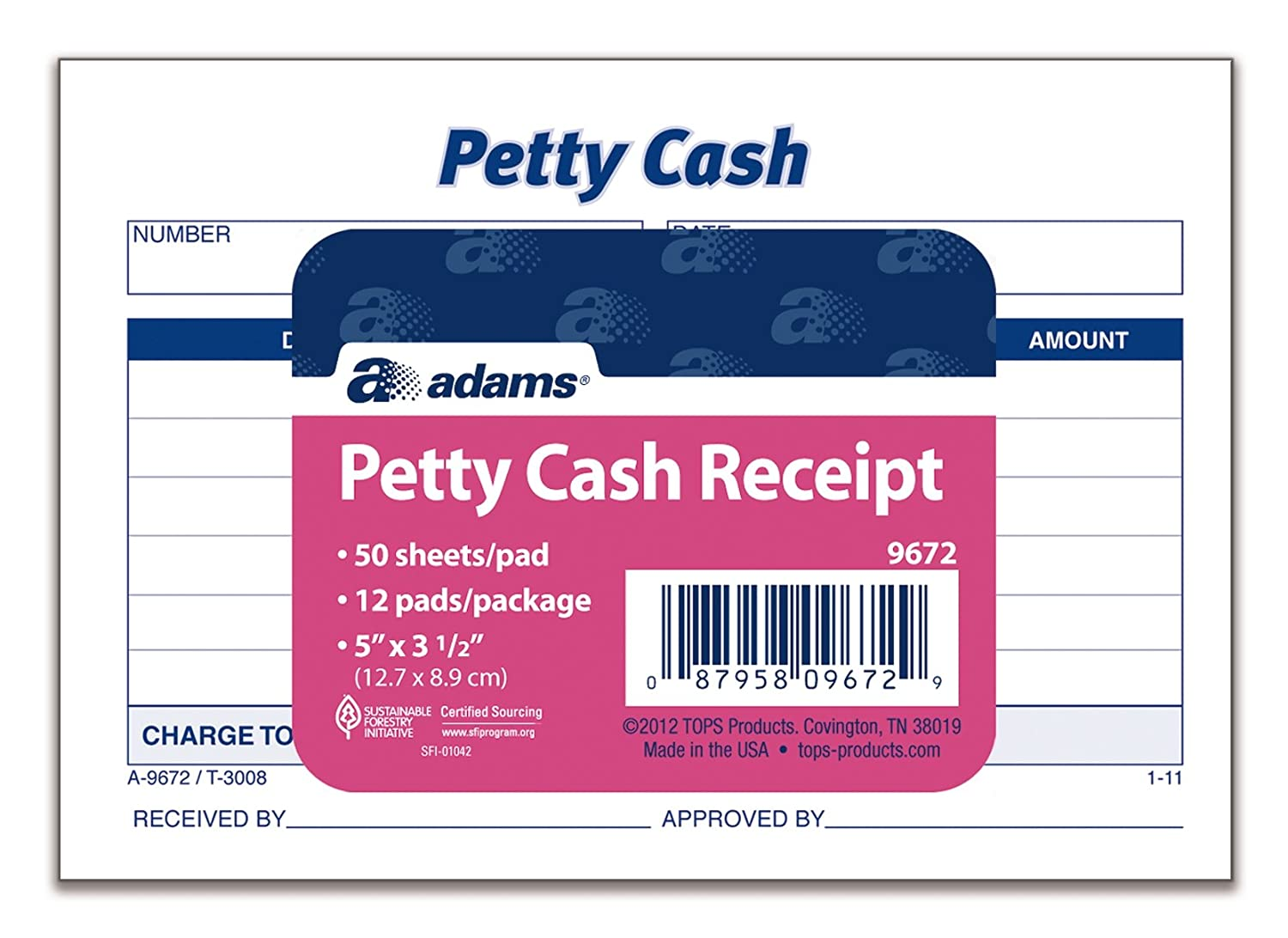 Amazon.com : Adams Petty Cash Receipt Pad, 5 X 3 1/2 Inches, 50 Sheets Per  Pad, Pack Of 12 Pads (9672ABF) : Blank Receipt Forms : Office Products  Cash Received Receipt