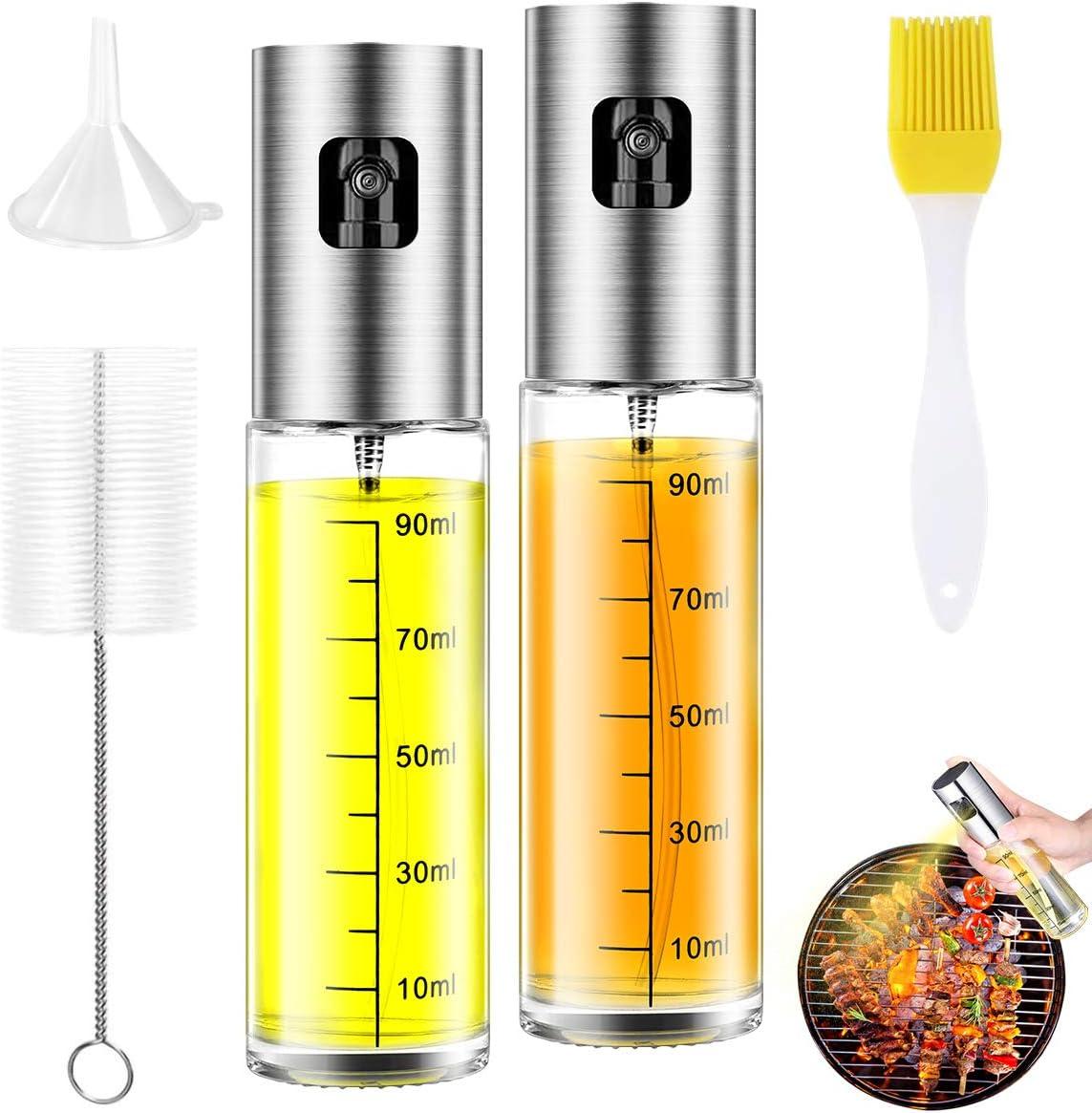 Oil Sprayer for Cooking 2 Pack, JOMARTO 100ml Olive Oil Spray Mister Set Glass Oil Bottle with Measurements Refillable Oil Dispenser for Kitchen Air Fryer BBQ Salad Baking Grilling Roasting: Home Improvement