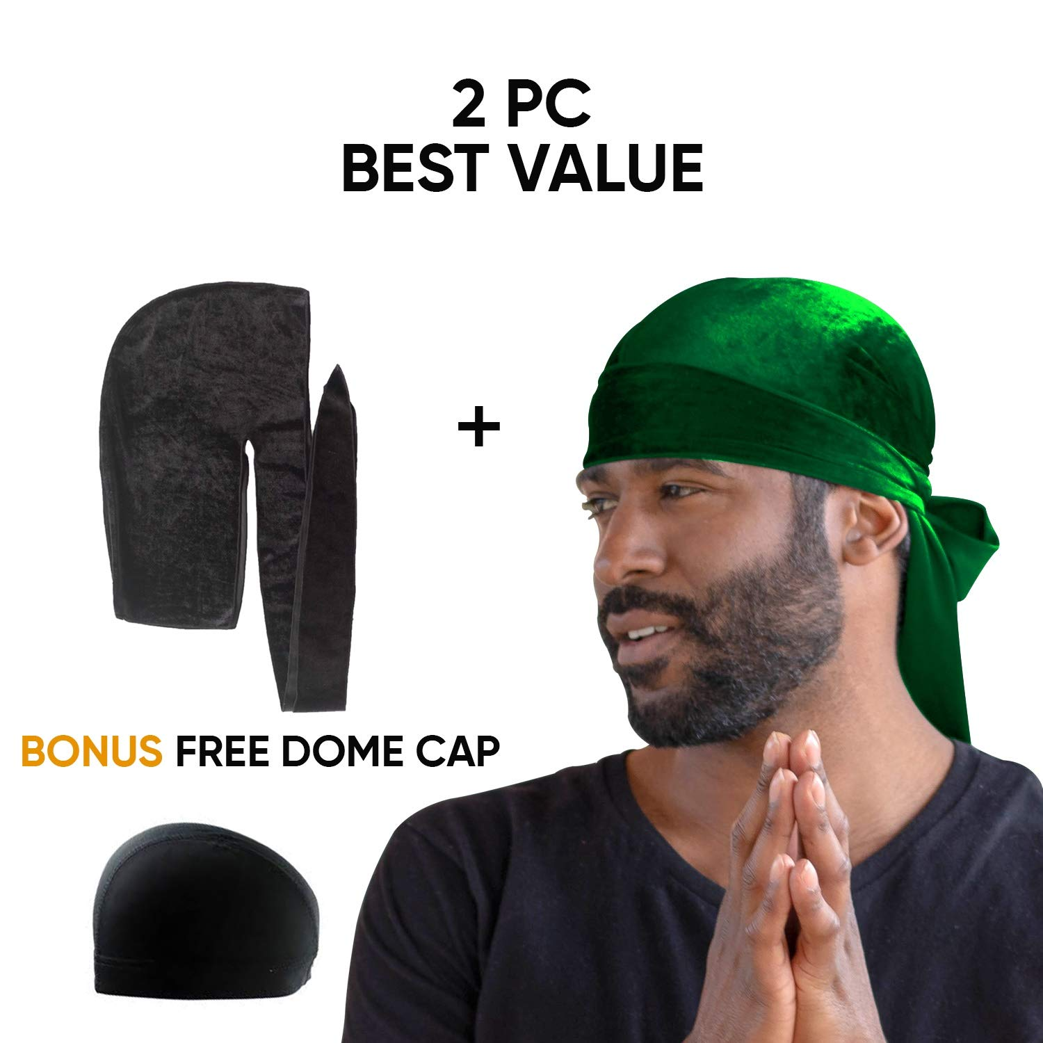 Amazon.com : Royal Waves Velvet Premium Durag - Extra Long Straps, One Size  Fits All for 360 Waves - 2 Pieces (Black/Green) : Beauty