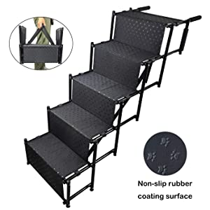 YEPHHO 5 Steps Upgraded Folding Pet Stairs Ramp Lightweight Portable Dog Cat Ladder with Waterproof Surface Great for Cars Trucks SUVs