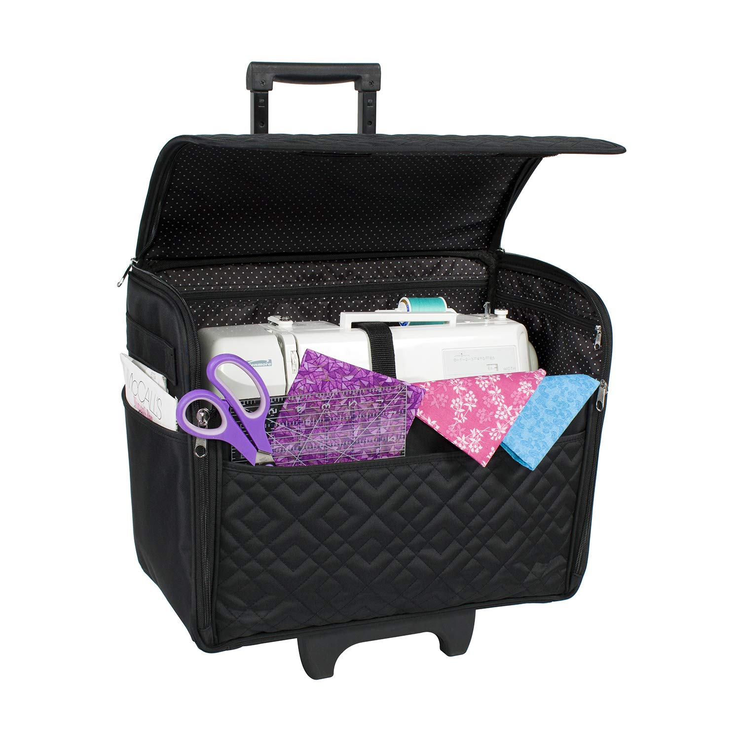 Everything Mary Black Diamond Quilted Rolling Sewing Machine Tote by Everything Mary
