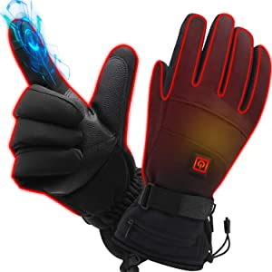 Unisex Rechargeable Battery Heated Gloves Winter Electric Heating Gloves Winter Outdoor Hiking Skiing Motorcycling Gloves Power 3200 mAh Li-Polymer Battery Works up 2.5-6 Hours Thermal Hand Warmer
