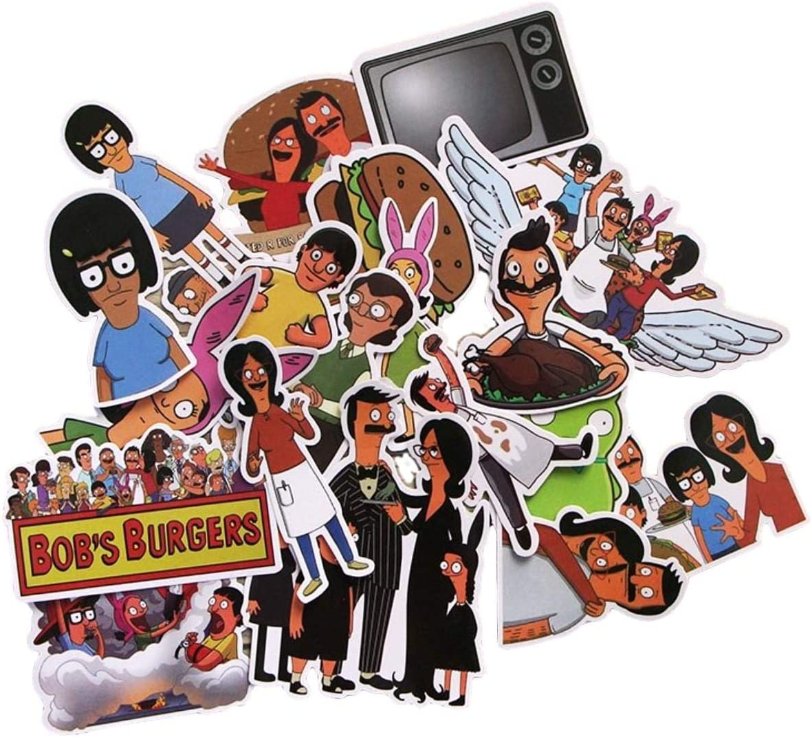 Cartoon Show Themed Bob's Burgers 21 Piece Sticker Decal Set for Kids Adults - Laptop Motorcycle Skateboard Decals