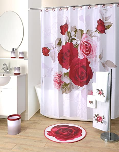 Prelude Floral Rose Fabric Shower Curtain 70 X 71 Inches