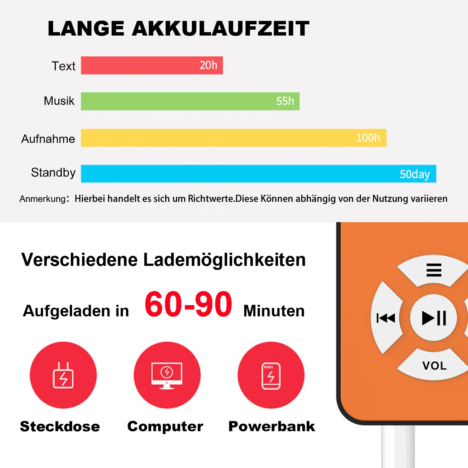 Storage up to 128 GB by microSD card portable player with Loudspeaker Music//Video Player Up to 100 hour battery BERTRONIC Made in Germany BC01 Royal MP3-Player