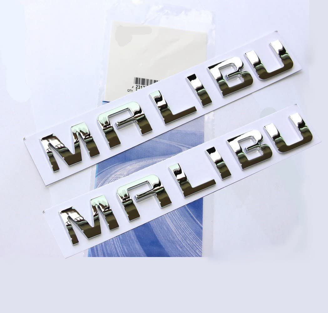 Yoaoo 2x OEM Chrome Malibu Nameplate Alloy Letter Emblem Badge Glossy for Gm Malibu
