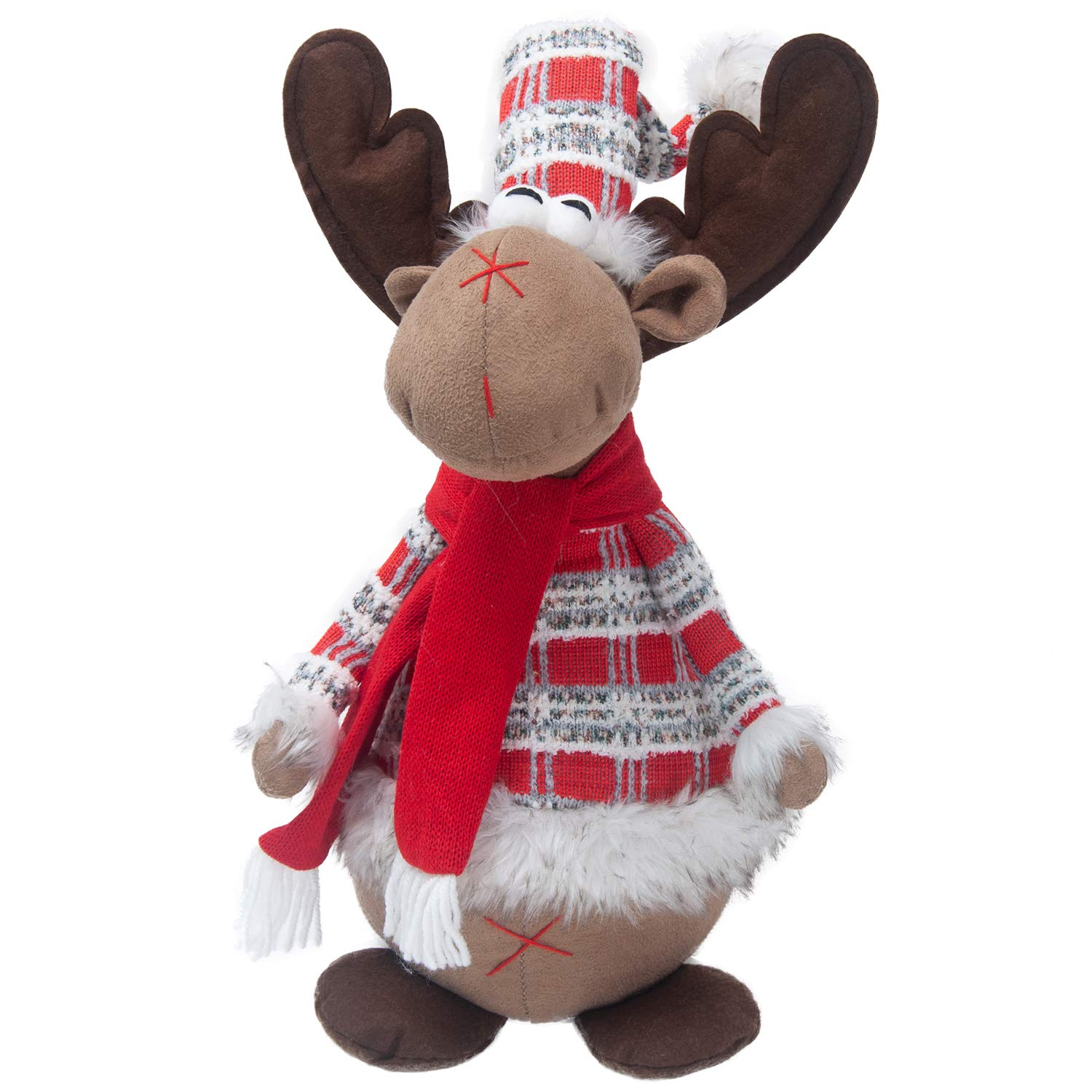 GMOEGEFT Handmade Christmas Reindeer Plush Rudolph Rustic Plaid Moose Stuffed Animal Gift Home Ornaments Holiday Decoration Table Decor, 21''