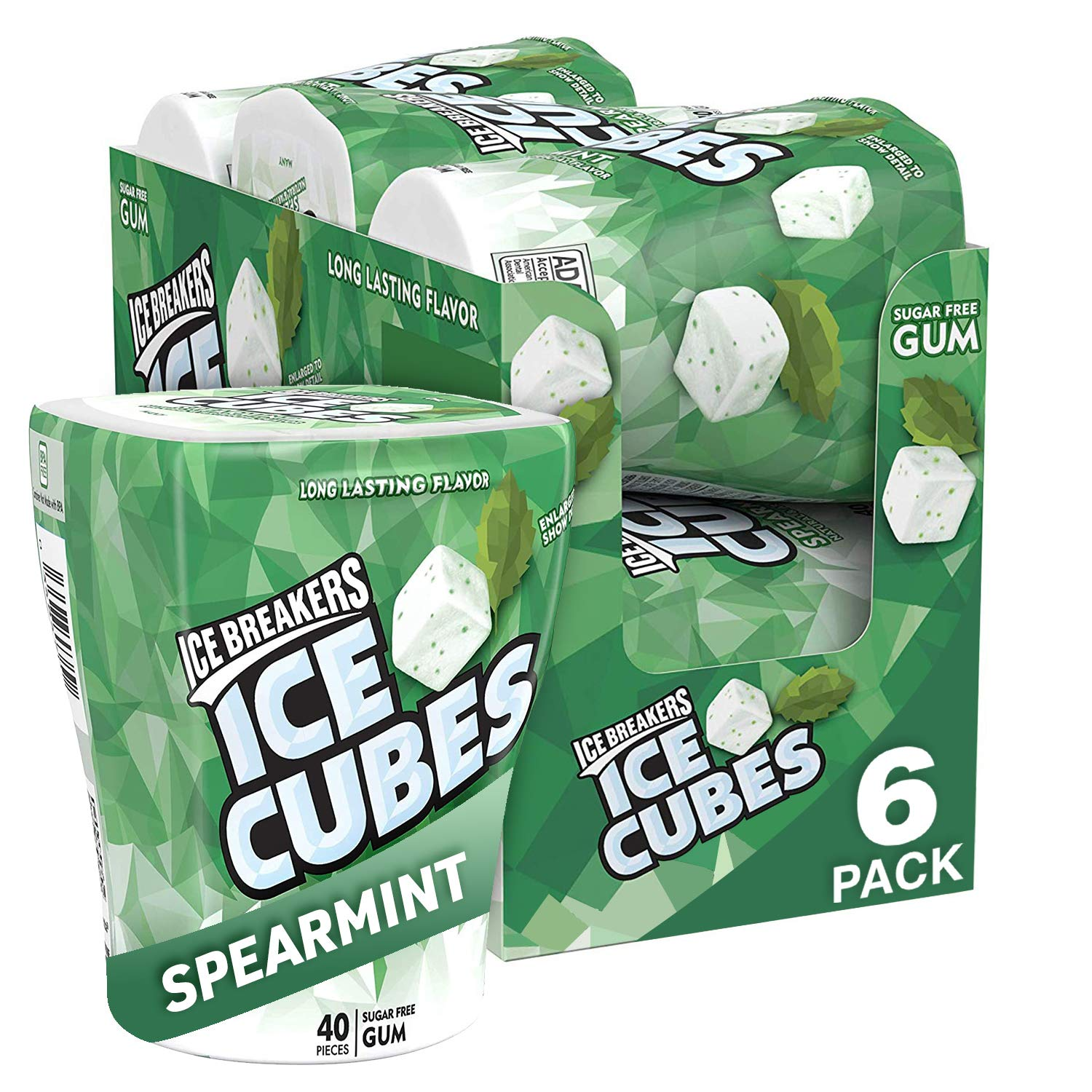Ice Breakers Ice Cubes Sugar Free Gum with Xylitol, Spearmint, 40 Count, Pack of 6