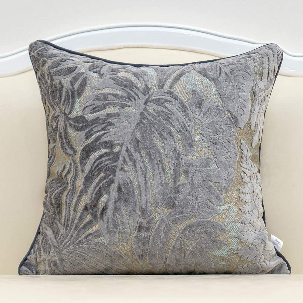 Alerfa 18 X 18 Inch Gray Silver Square Maple Leaf Pillow Embroidery Cut Velvet Cushion Case Luxury Modern Lumbar Throw Pillow Cover Decorative Pillow For Couch Sofa Living Room Bedroom Car Amazon Ca