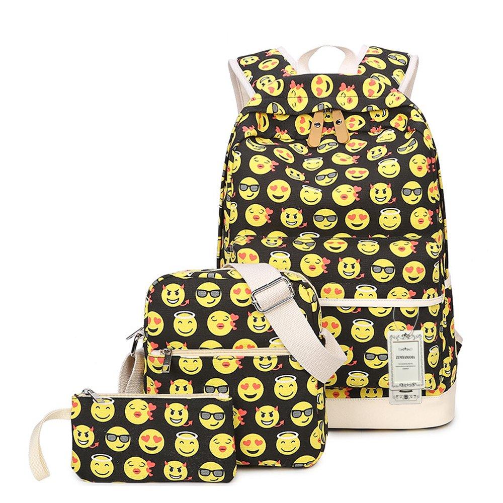 ZUNIYAMAMA 3 mis en sac d'école Emoji toile Laptop Backpack Sac à bandoulière sac à main sac (Pencil Case) bb-baobao-105
