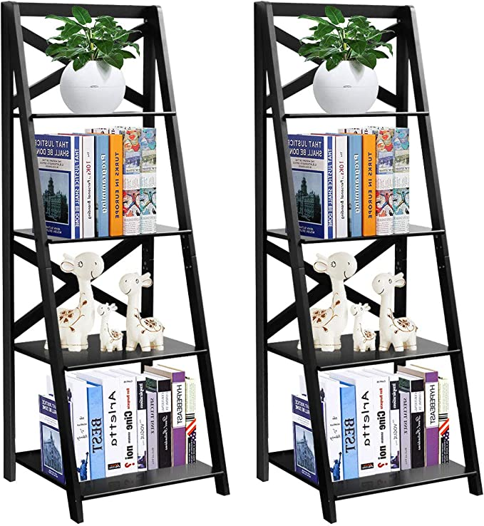 Details about  /4-Tiers Ladder Bookshelf Bookcase Storage Plants Display Rack Holder Home Office