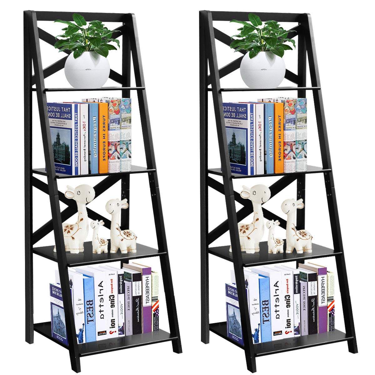 Tangkula 4-Tier Ladder Shelf Bookcase Leaning Free Standing Wooden Frame Decor Bookshelf Storage Flower Shelf Plant Display Shelf for Home Office (2) ... by Tangkula