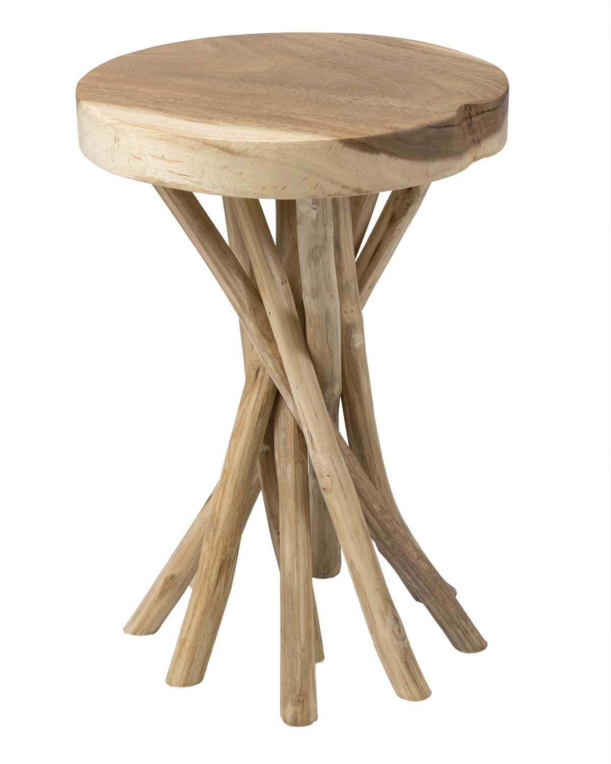 East at Main Kenton Teakwood Round Accent Table, Natural, (14x14x20)