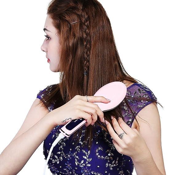Cepillo alisador de pelo, Peine Eléctrico, con Cerámica Caliente más Seguro y Rápido, Anti-quemaduras, Anti-estático, Temperatura Controlada Electrónico LCD ...